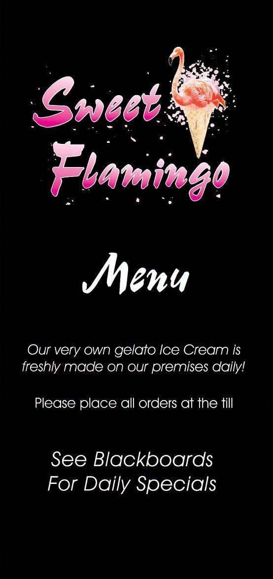 Sweet Flamingo menu page 1